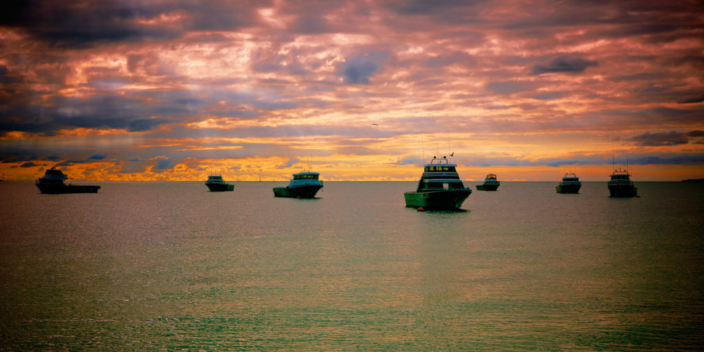 Cray fishing Boats at Sunset